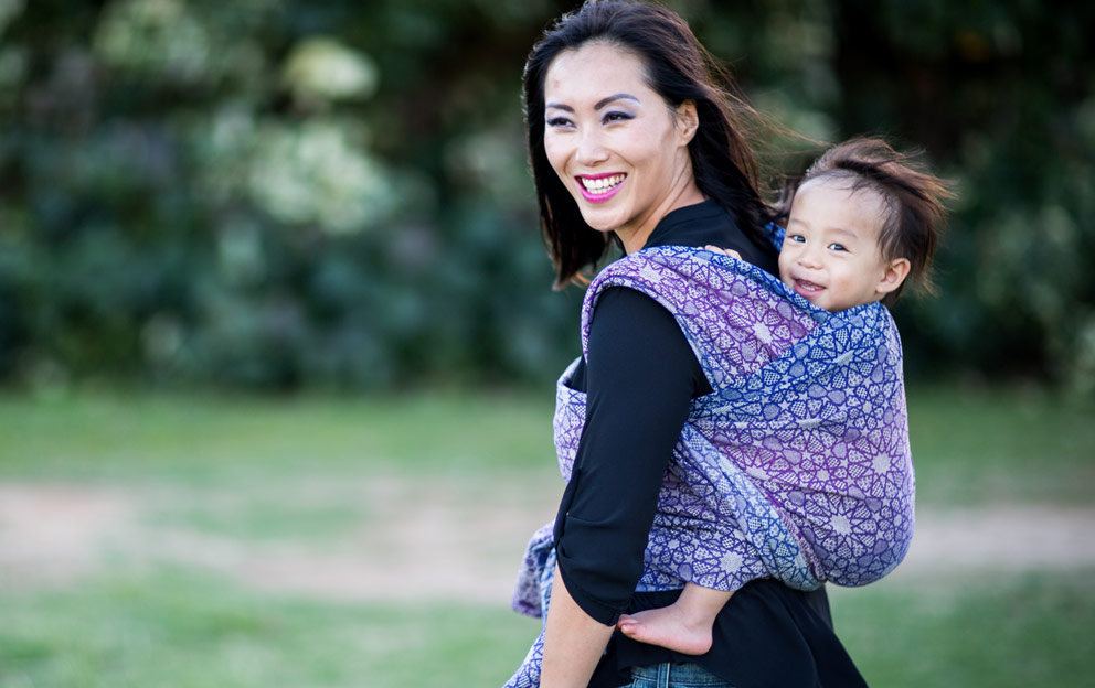 Staying cool in wool, woven baby carrier