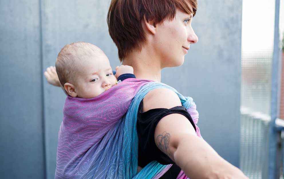 Yoga and baby carrying, exercise with baby
