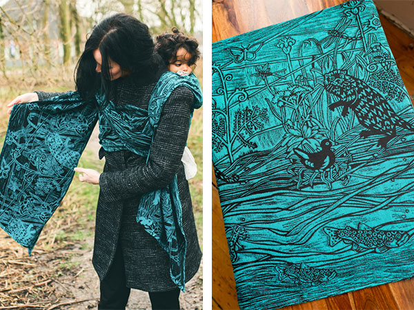 Designed in Scotland, inspired by lochs and lakes Riverbank Baby wrap for Oscha Slings